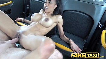 Divine tits Fake taxi petite ebony with big tits works drives cock for cum