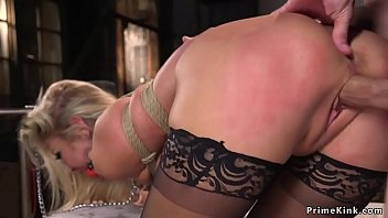 Huge tits tied blonde anal banged