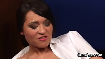 Frisky beauty gets cumshot on her face swallowing all the love juice