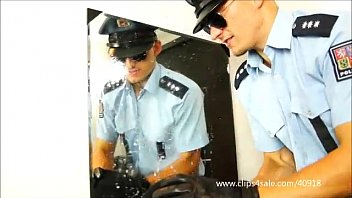 Gay boot trample - Dominant cops spits and stomps on slave - 061