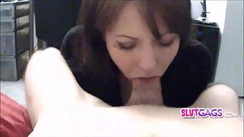 Amateur cock gaggin Mya throating and gaggin on my dick