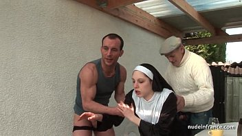 Nun forced to cum Young french nun fucked hard in threesome with papy voyeur