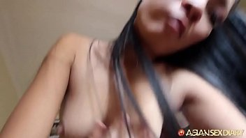 Petite Asian MILF with tiny snatch and ass rides on top white cock