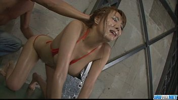 Japanese bikini girls Filthy babe in tight red bikini sucking random poles and dildo fucked