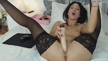 Hot chick in stockings and high heels squirts like a fountain paxcams.com