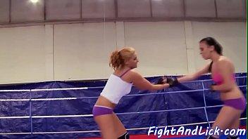 Lesbian milf masturbates in the boxing ring