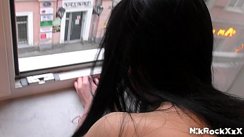 the girl Melissa Rel moans out the window! public .  people watching