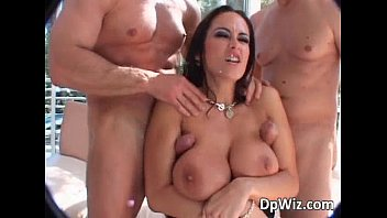 Hot brunette with big boobs rides two tumblr xxx video