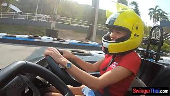 Amateur Thai girlfriend teen fun at go karts and gets fucked afterwards