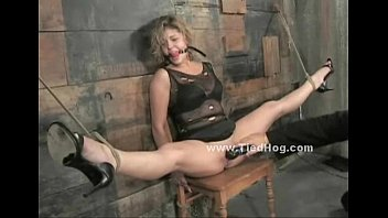 Blonde tied on chair in dirty barn bdsm tumblr xxx video