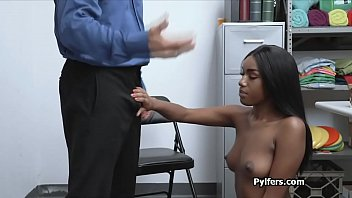 Misbehaving black cutie fingered and fucked by guard