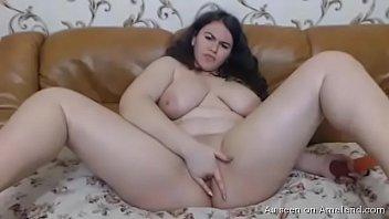 Horny BBW girlfriend pleasuring herself