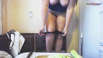 Lustful Housewife Fucks Pussy With Eggplant - Food Play