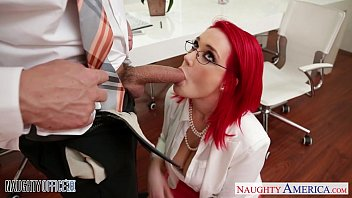 Busty naughty office - Redhead office babe siri fucking