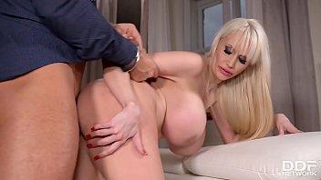 Busty babe Sandra Star handcuffs boyfriend & gets her big tits fucked hard