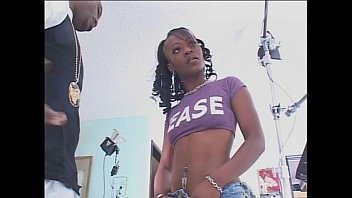 Small tits ebony teen takes on a big black cock