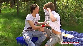 young shaving boys outdoor Thumb