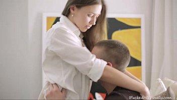 Cute Russian Teen In White Stockings Finally Gets Fucked By Boyfriend
