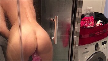 Magnetic wall mount strips Dildo fuck in shower