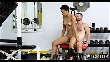 Hot Black Teen Fucks White Guy During Workout