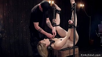Blonde tormented in bondage devices