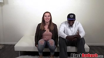 Busty chubby amateur takes her first BBC on casting