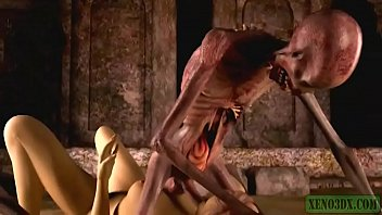 Graveyard's Horny Guardian. Monster porn horrors 3D