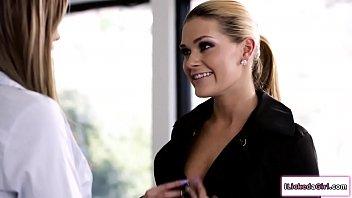Busty babe licks her secretarys pussy