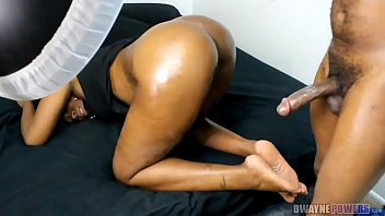 Ebony Tease Then Oiled Doggystyle