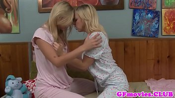 Lesbian girlfriends kissing and grinding