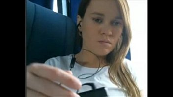 Horny Teen Playing On The Bus