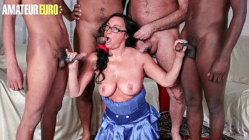 AMATEUR EURO - #Laura Rey - Hardcore Gangbang Party For Big Tits Lady