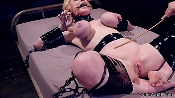 Milf gets huge tits tormented in bondage