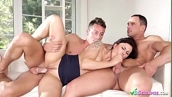 Cute Babe Joins Two Bisexuals in Threesome