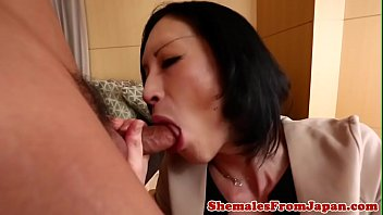 Classy ladyboy sucking cock before anal