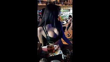 Lady from Poland go crazy in a ladyboy bar