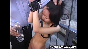 Asian Bitch Roped Up And Given Water To D.