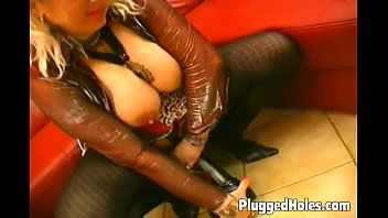 Big breasted black Busty milf dildoing her pierced pussy