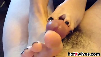 Hot Wife Gives Black Toenail Footjob