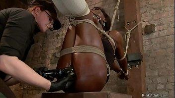 Ebony slave gets nipples tormented