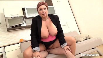 Extreamly old womens tits - Redhead german granny abuses nephew with her big tits