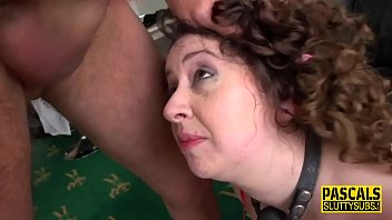 Bound milf sub gets toyed and spermed
