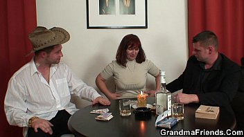 Strip poker leads to old threesome orgy