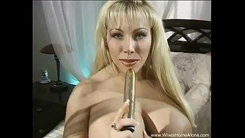 Shiny Gold Dildo Huge Boobs Wife