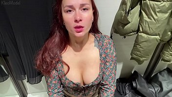 Young Redhead wife gives blowjob in changing room. KleoModel