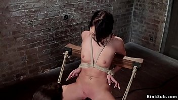 Brunette in sitting bondage fingered Preview