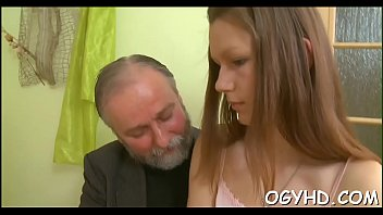 Horny old dude teases juvenile babe