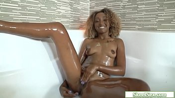 Id strip Tiny ebony rammed by a huge white cock