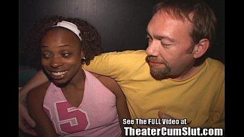 Ebony Whore Cum Coated in a Porn Theater!