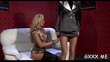 Kinky lesbo gets pants ripped and sweet pussy dildoded